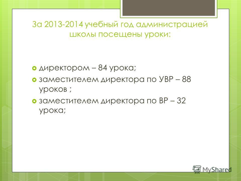 За 2013-2014 учебный год администрацией школы посещены уроки: директором – 84 урока; заместителем директора по УВР – 88 уроков ; заместителем директора по ВР – 32 урока;