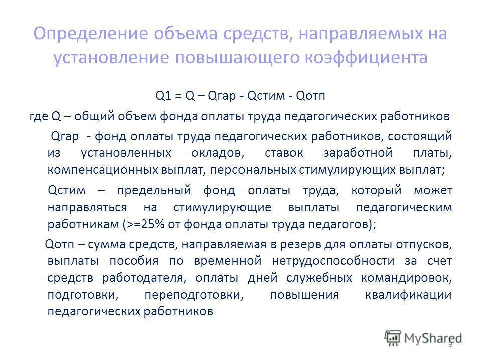 Определение объема средств, направляемых на установление повышающего коэффициента Q1 = Q – Qгар - Qстим - Qотп где Q – общий объем фонда оплаты труда педагогических работников Qгар - фонд оплаты труда педагогических работников, состоящий из установле