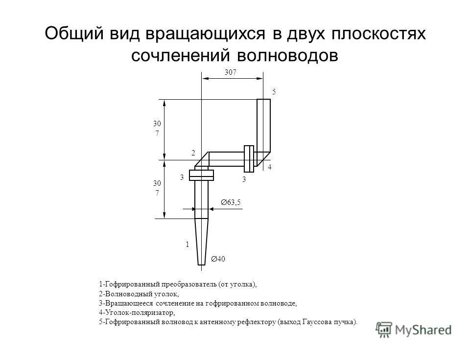 Общий вид вращающихся в двух плоскостях сочленений волноводов 1-Гофрированный преобразователь (от уголка), 2-Волноводный уголок, 3-Вращающееся сочленение на гофрированном волноводе, 4-Уголок-поляризатор, 5-Гофрированный волновод к антенному рефлектор