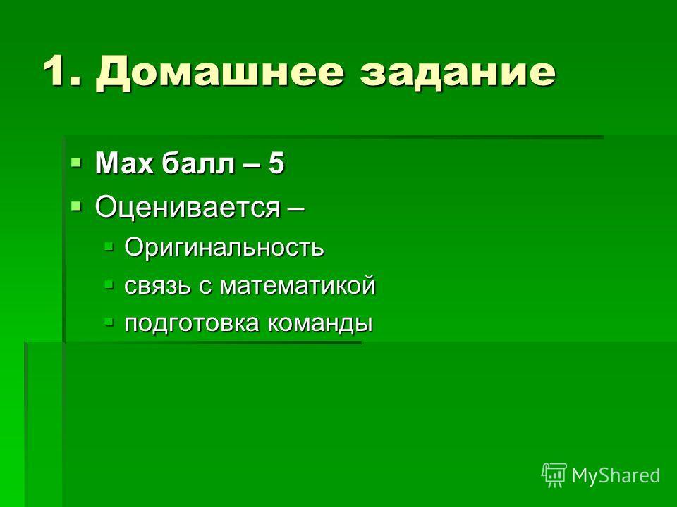1. Домашнее задание Max балл – 5 Max балл – 5 Оценивается – Оценивается – Оригинальность Оригинальность связь с математикой связь с математикой подготовка команды подготовка команды