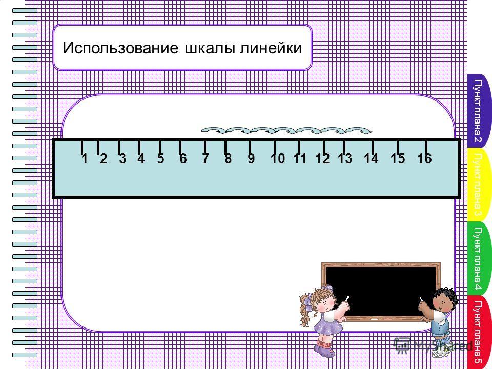 Пункт плана 2 Пункт плана 3 Пункт плана 4 Пункт плана 5 Использование шкалы линейки 1 2 3 4 5 6 7 8 9 10 11 12 13 14 15 16