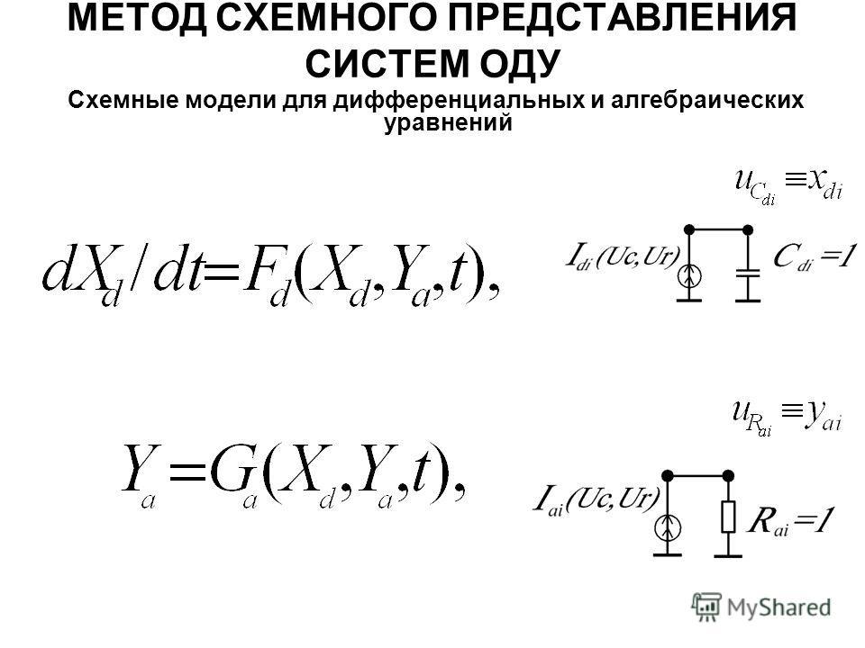 МЕТОД СХЕМНОГО ПРЕДСТАВЛЕНИЯ СИСТЕМ ОДУ Схемные модели для дифференциальных и алгебраических уравнений