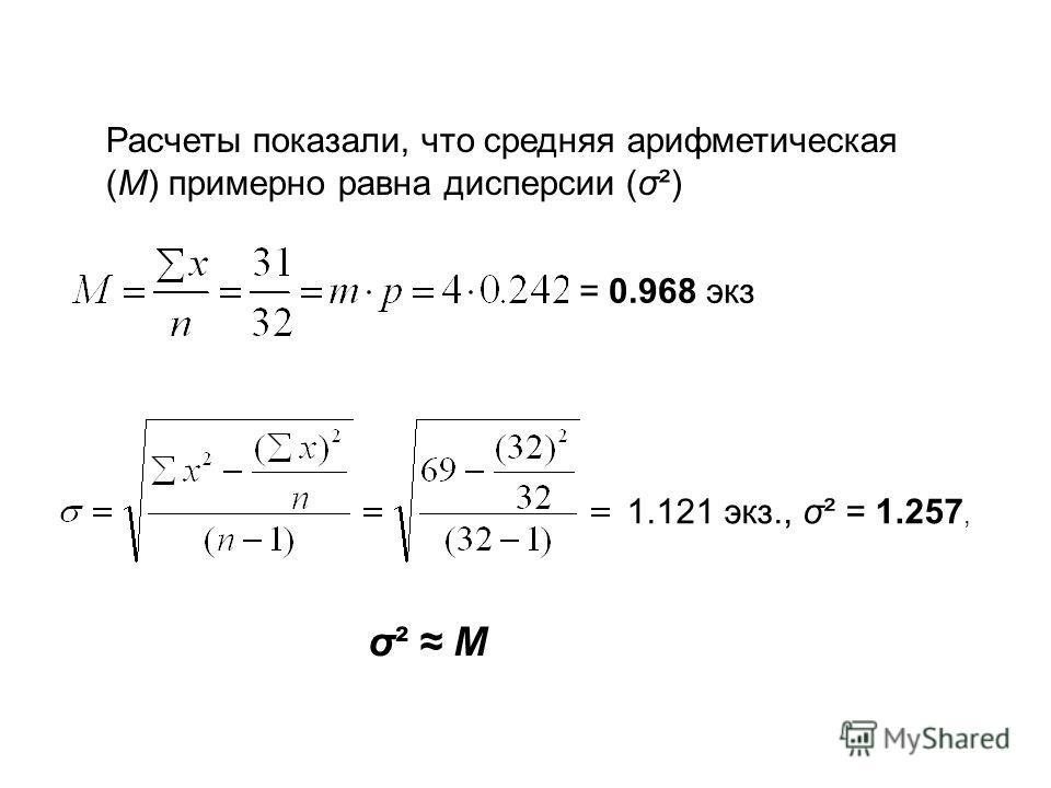 Расчеты показали, что средняя арифметическая (M) примерно равна дисперсии (σ²) = 0.968 экз 1.121 экз., σ² = 1.257, σ² Mσ² M