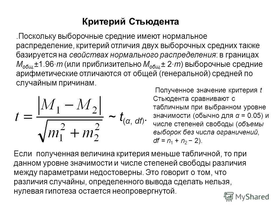 .Поскольку выборочные средние имеют нормальное распределение, критерий отличия двух выборочных средних также базируется на свойствах нормального распределения: в границах M общ. ±1.96m (или приблизительно M общ. ± 2m) выборочные средние арифметически