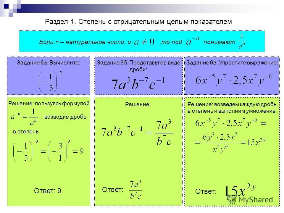 Раздел 1. Степень с отрицательным целым показателем Если n – натуральное число, и,то под понимают Решение: пользуясь формулой, возводим дробь в степень Ответ: 9. Задание 6 а. Вычислите: Задание 6 в. Упростите выражение: Задание 6 б. Представьте в вид