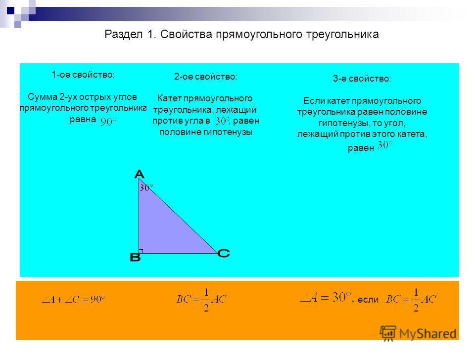 Раздел 1. Свойства прямоугольного треугольника 1-ое свойство: Сумма 2-ух острых углов прямоугольного треугольника равна 2-ое свойство: Катет прямоугольного треугольника, лежащий против угла в, равен половине гипотенузы 3-е свойство: Если катет прямоу