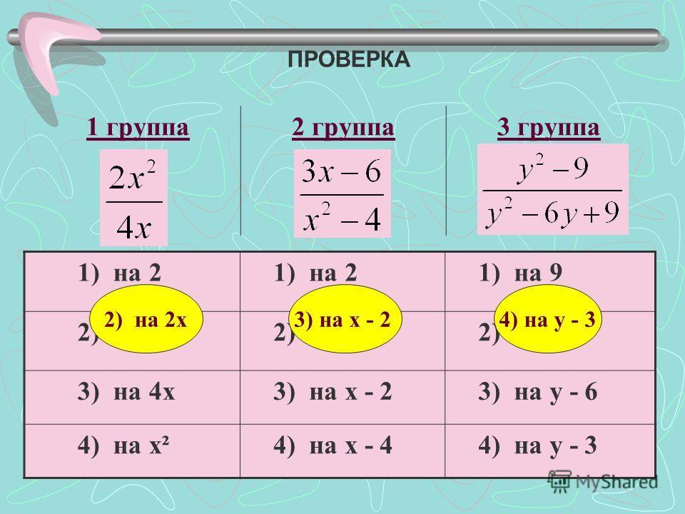 ПРОВЕРКА 1 группа 2 группа 3 группа 1) на 2 1) на 9 2) на 2 х 2) на х 2) на у 3) на 4 х 3) на х - 2 3) на у - 6 4) на х² 4) на х - 4 4) на у - 3 2) на 2 х 3) на х - 24) на у - 3