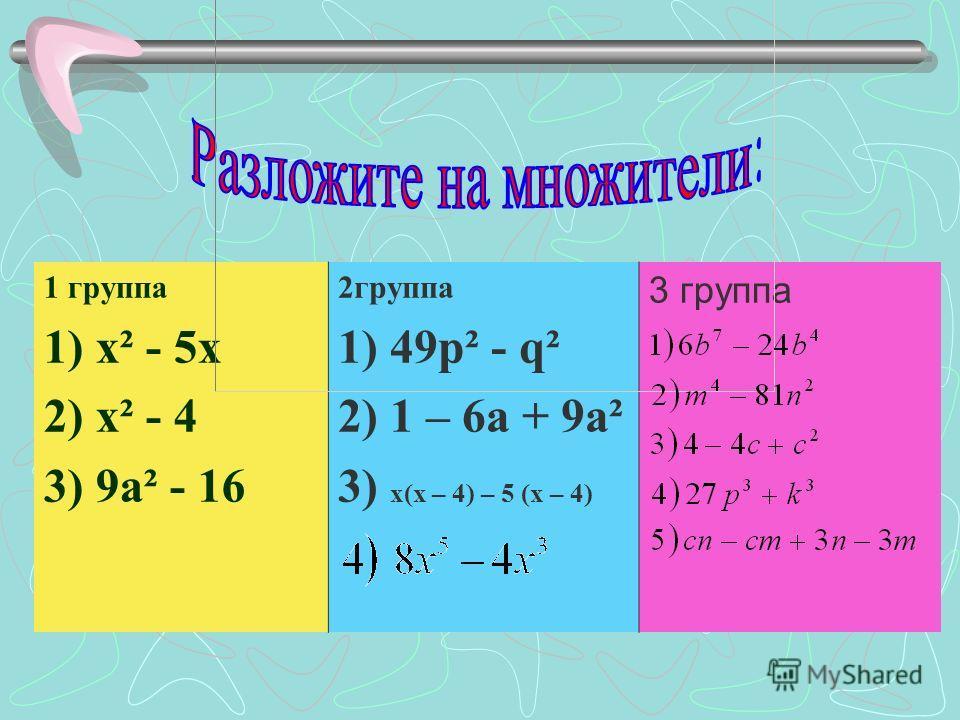 1 группа 1) х² - 5 х 2) х² - 4 3) 9 а² - 16 2 группа 1) 49p² - q² 2) 1 – 6a + 9a² 3) х(х – 4) – 5 (х – 4) 3 группа