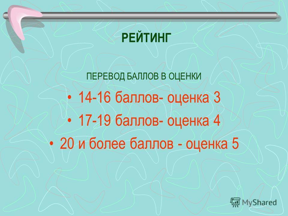 РЕЙТИНГ ПЕРЕВОД БАЛЛОВ В ОЦЕНКИ 14-16 баллов- оценка 3 17-19 баллов- оценка 4 20 и более баллов - оценка 5