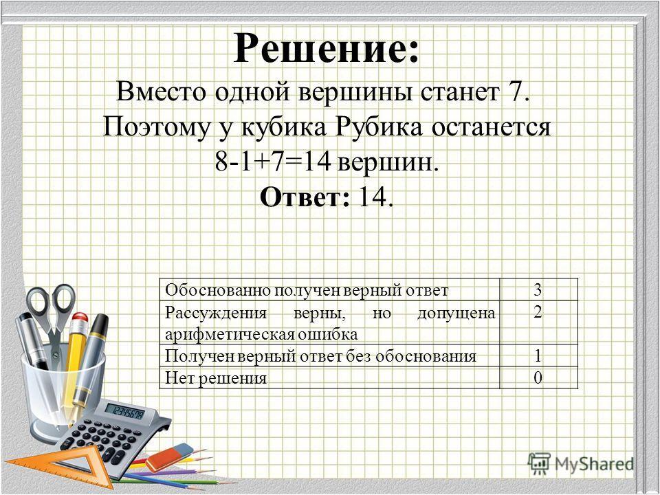 Решение: Вместо одной вершины станет 7. Поэтому у кубика Рубика останется 8-1+7=14 вершин. Ответ: 14. Обоснованно получен верный ответ 3 Рассуждения верны, но допущена арифметическая ошибка 2 Получен верный ответ без обоснования 1 Нет решения 0