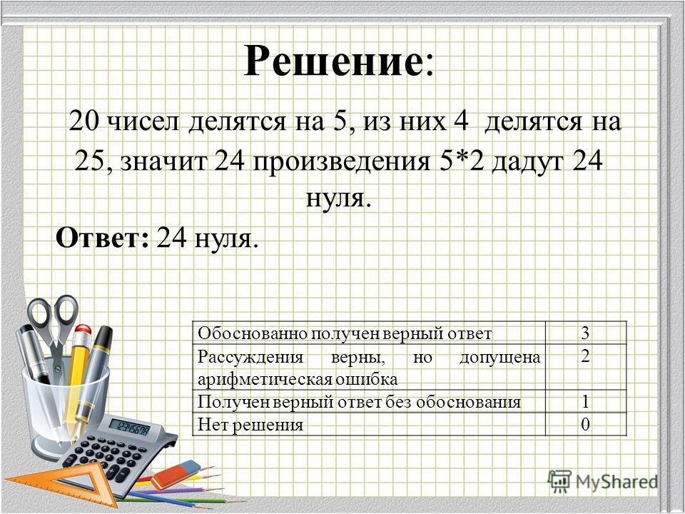 Решение: 20 чисел делятся на 5, из них 4 делятся на 25, значит 24 произведения 5*2 дадут 24 нуля. Ответ: 24 нуля. Обоснованно получен верный ответ 3 Рассуждения верны, но допущена арифметическая ошибка 2 Получен верный ответ без обоснования 1 Нет реш
