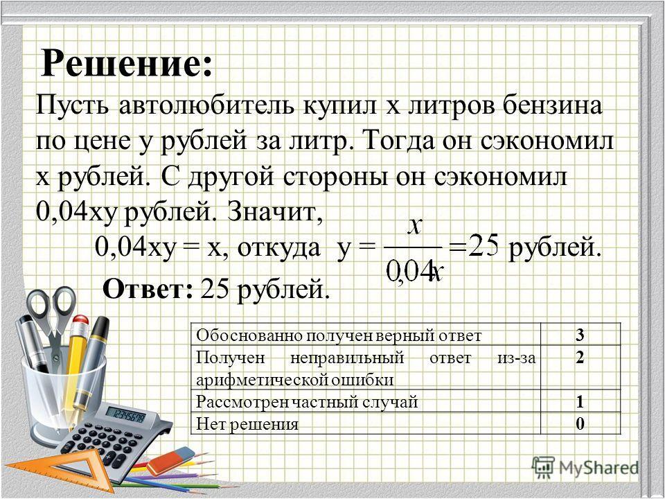 Решение: Пусть автолюбитель купил x литров бензина по цене y рублей за литр. Тогда он сэкономил x рублей. С другой стороны он сэкономил 0,04xy рублей. Значит, 0,04xy = x, откуда у = рублей. Ответ: 25 рублей. Обоснованно получен верный ответ 3 Получен