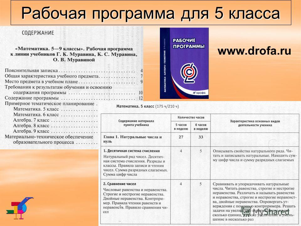Рабочая программа для 5 класса www.drofa.ru