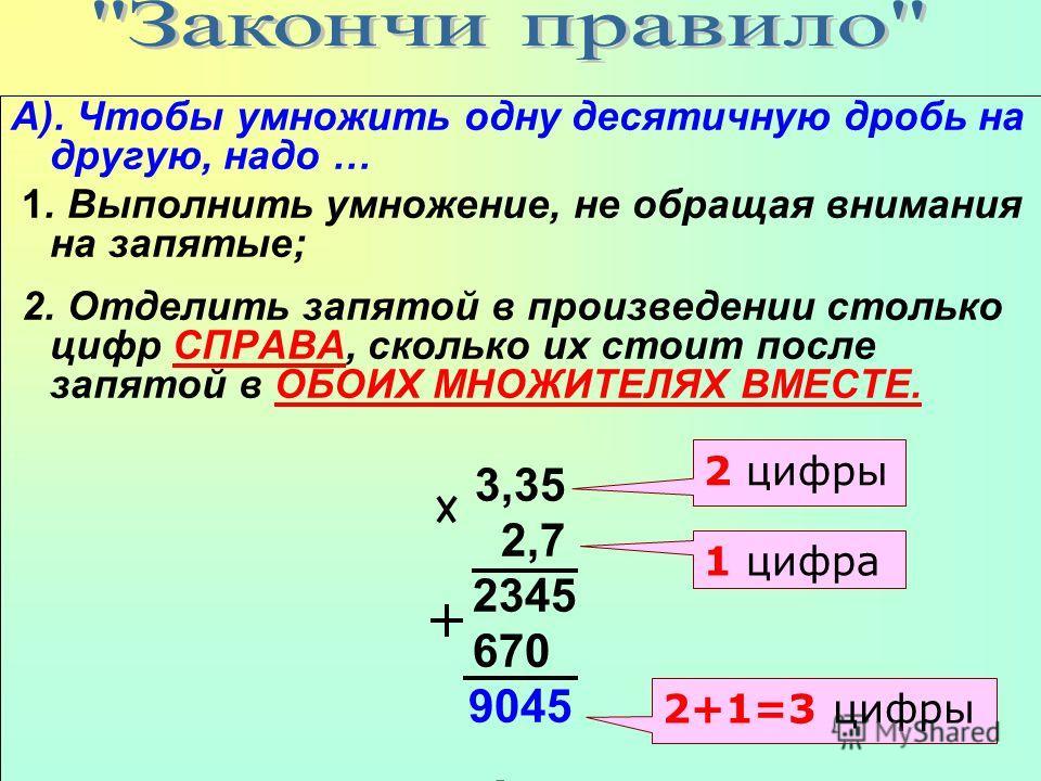 А). Чтобы умножить одну десятичную дробь на другую, надо … 1. Выполнить умножение, не обращая внимания на запятые; 2. Отделить запятой в произведении столько цифр СПРАВА, сколько их стоит после запятой в ОБОИХ МНОЖИТЕЛЯХ ВМЕСТЕ. 3,35 2,7 2345 670 904