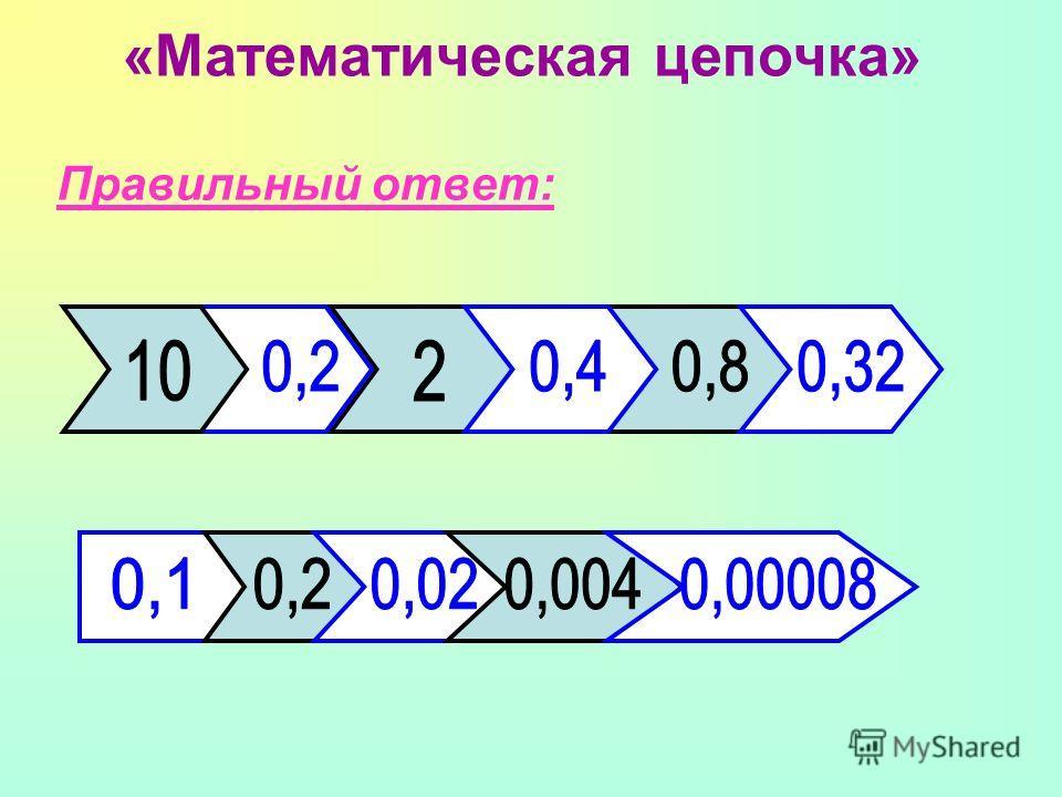 «Математическая цепочка» Правильный ответ: