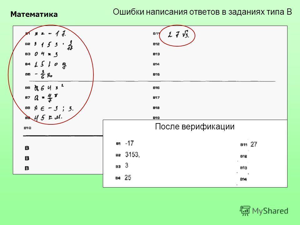 Ошибки написания ответов в заданиях типа В Математика После верификации