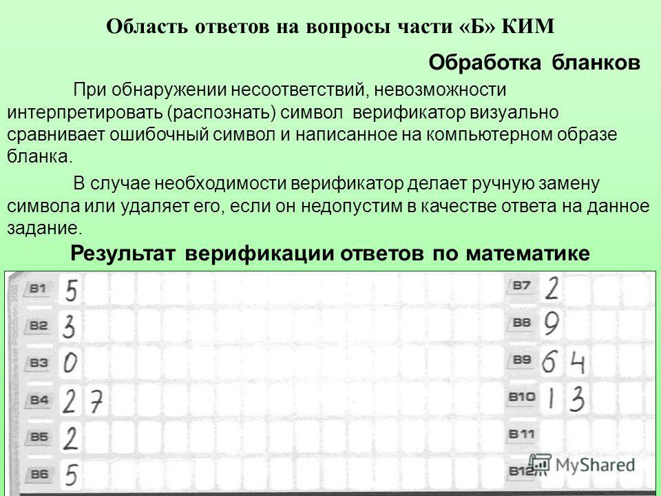 Обработка бланков В случае необходимости верификатор делает ручную замену символа или удаляет его, если он недопустим в качестве ответа на данное задание. Результат верификации ответов по математике При обнаружении несоответствий, невозможности интер