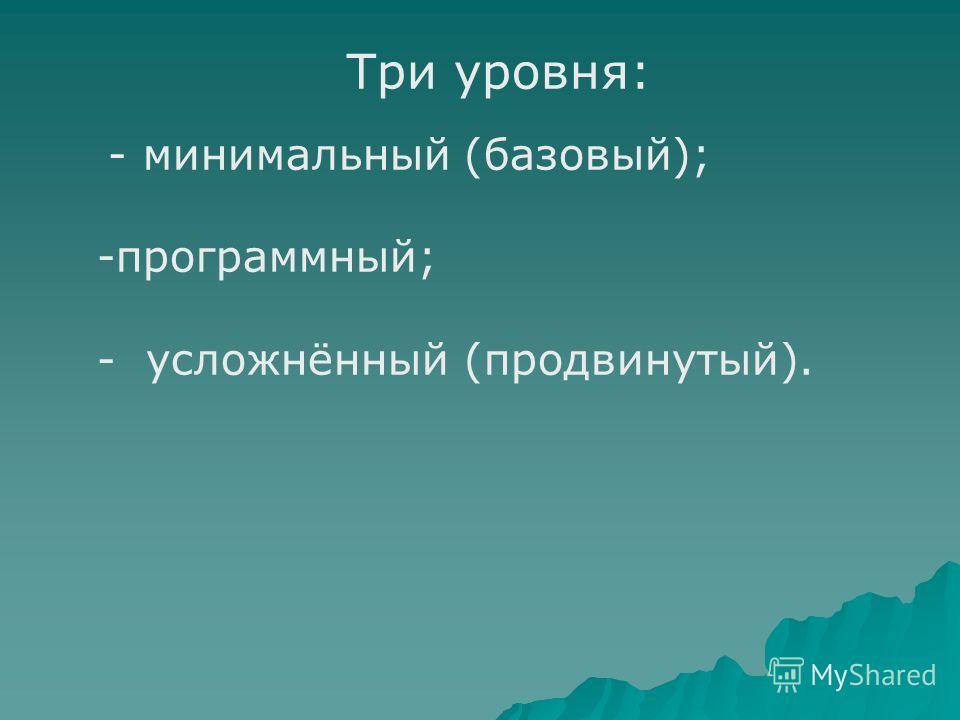 Три уровня: - минимальный (базовый); -программный; - усложнённый (продвинутый).