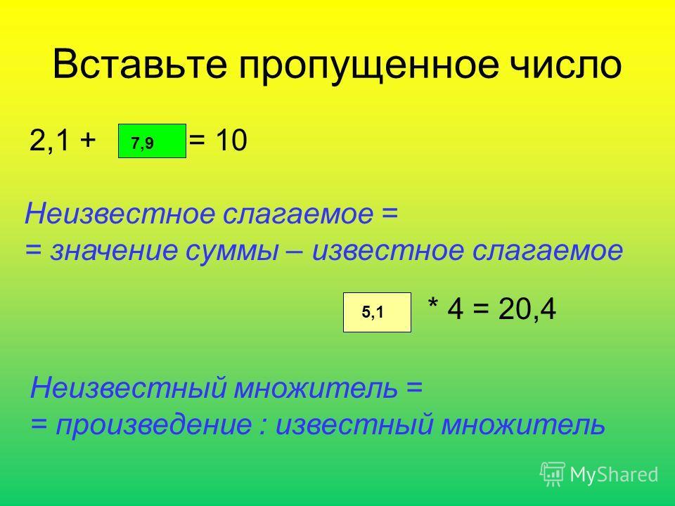Вставьте пропущенное число 2,1 + = 10 7,9 Неизвестное слагаемое = = значение суммы – известное слагаемое * 4 = 20,4 5,1 Неизвестный множитель = = произведение : известный множитель