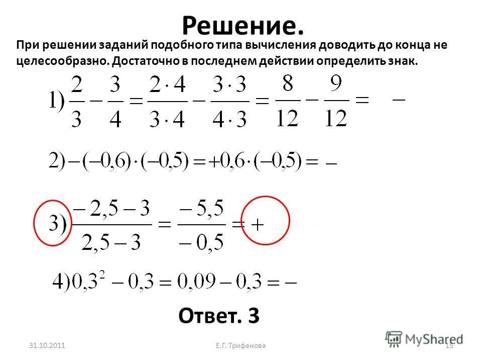 Решение. 31.10.2011Е.Г. Трифанова 15 Ответ. 3 При решении заданий подобного типа вычисления доводить до конца не целесообразно. Достаточно в последнем действии определить знак.