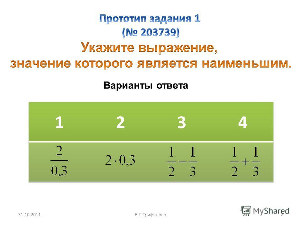 Варианты ответа 31.10.2011Е.Г. Трифанова 2