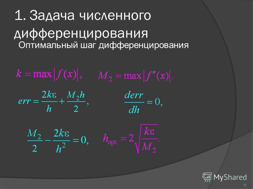 15 1. Задача численного дифференцирования Оптимальный шаг дифференцирования