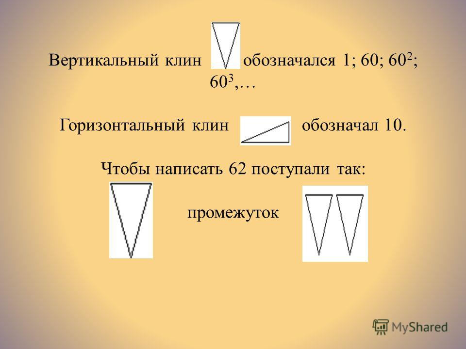 Вертикальный клин обозначался 1; 60; 60 2 ; 60 3,… Горизонтальный клин обозначал 10. Чтобы написать 62 поступали так: промежуток