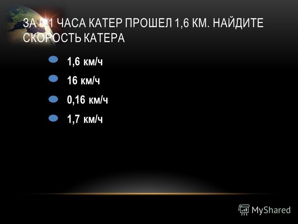 ЗА 0,1 ЧАСА КАТЕР ПРОШЕЛ 1,6 КМ. НАЙДИТЕ СКОРОСТЬ КАТЕРА 1,6 км/ч 16 км/ч 0,16 км/ч 1,7 км/ч