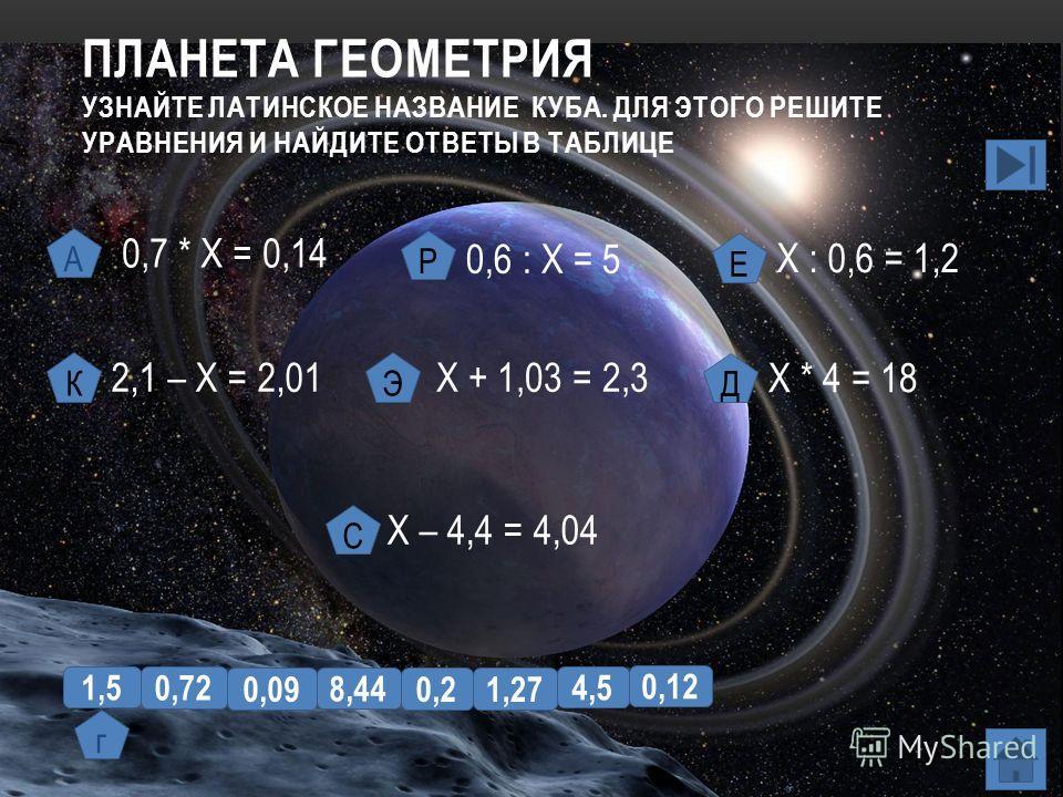 ПЛАНЕТА ГЕОМЕТРИЯ УЗНАЙТЕ ЛАТИНСКОЕ НАЗВАНИЕ КУБА. ДЛЯ ЭТОГО РЕШИТЕ УРАВНЕНИЯ И НАЙДИТЕ ОТВЕТЫ В ТАБЛИЦЕ 0,7 * Х = 0,14 2,1 – Х = 2,01 0,6 : Х = 5 Х : 0,6 = 1,2 Х + 1,03 = 2,3 Х * 4 = 18 Х – 4,4 = 4,04 А Р Е КЭ Д С 1,5 0,72 0,09 8,44 0,2 0,12 4,5 1,2