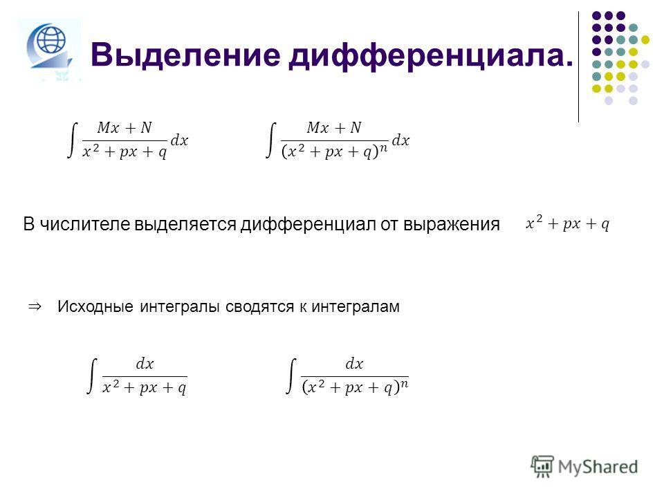 Выделение дифференциала. В числителе выделяется дифференциал от выражения Исходные интегралы сводятся к интегралам