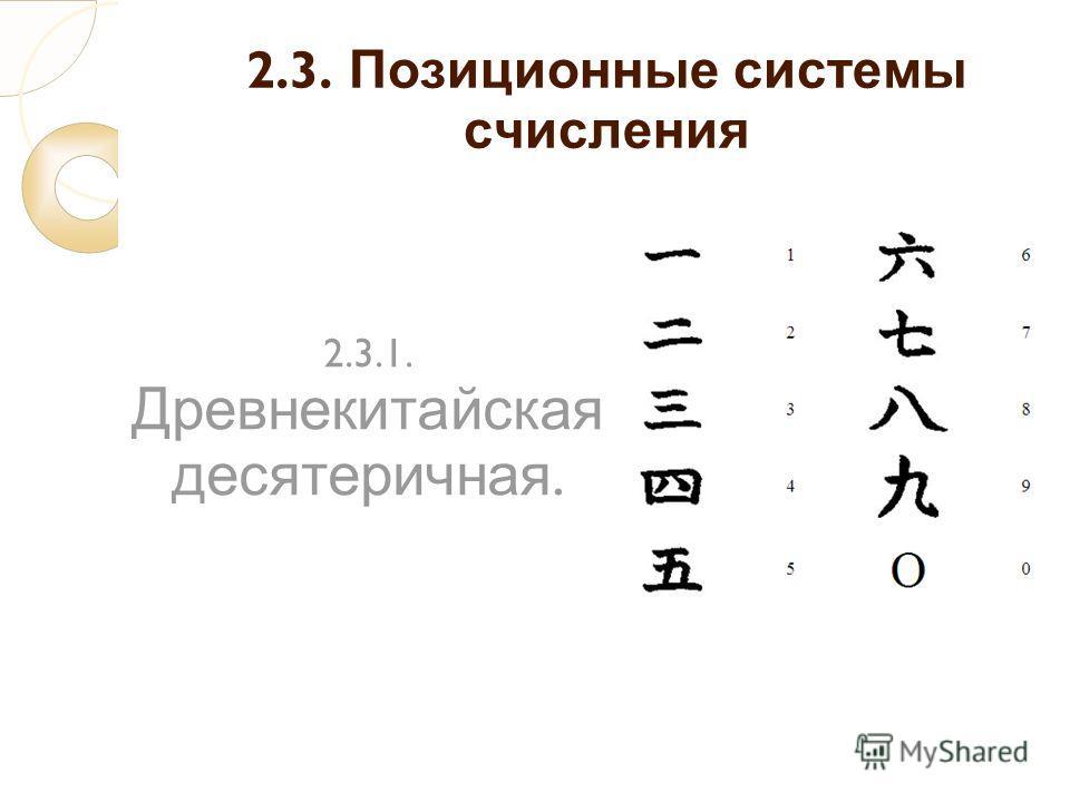 2.3. Позиционные системы счисления 2.3.1. Древнекитайская десятеричная.