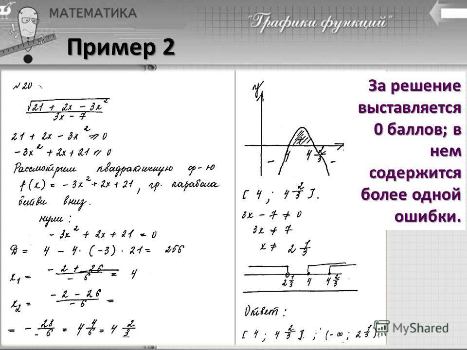 Пример 2 За решение выставляется 0 баллов; в нем содержится более одной ошибки.
