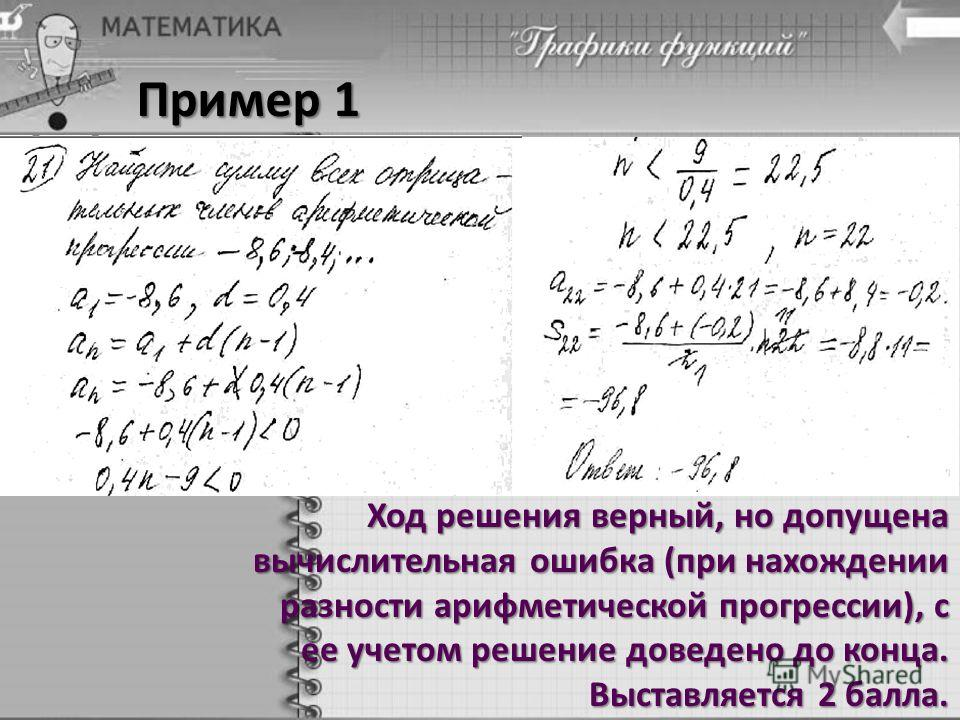 Пример 1 Ход решения верный, но допущена вычислительная ошибка (при нахождении разности арифметической прогрессии), с ее учетом решение доведено до конца. Выставляется 2 балла.