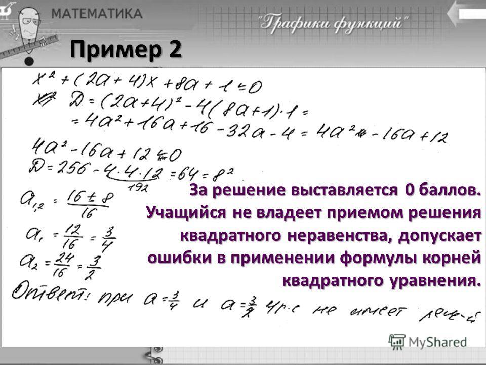Пример 2 За решение выставляется 0 баллов. Учащийся не владеет приемом решения квадратного неравенства, допускает ошибки в применении формулы корней квадратного уравнения.