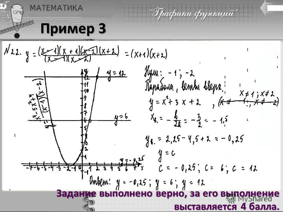 Пример 3 Задание выполнено верно, за его выполнение выставляется 4 балла.