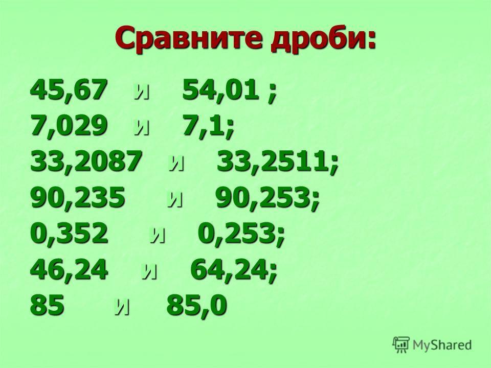 Сравните дроби: 45,67 и 54,01 ; 7,029 и 7,1; 33,2087 и 33,2511; 90,235 и 90,253; 0,352 и 0,253; 46,24 и 64,24; 85 И 85,0