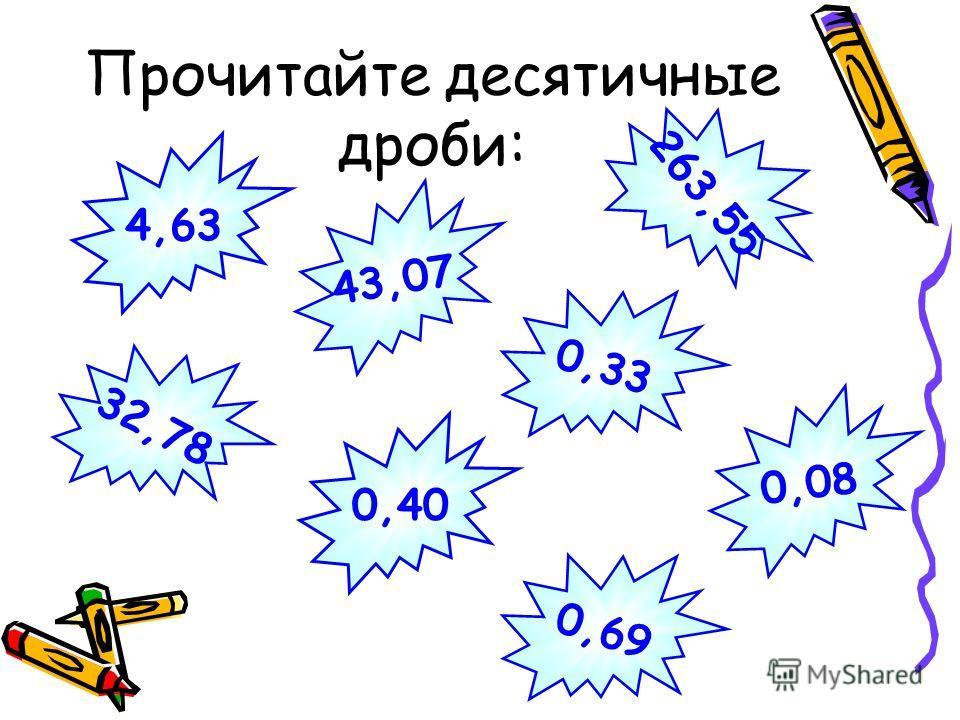 Прочитайте десятичные дроби: 0,69 32,78 263,55 43,07 0,33 0,40 0,08 4,63