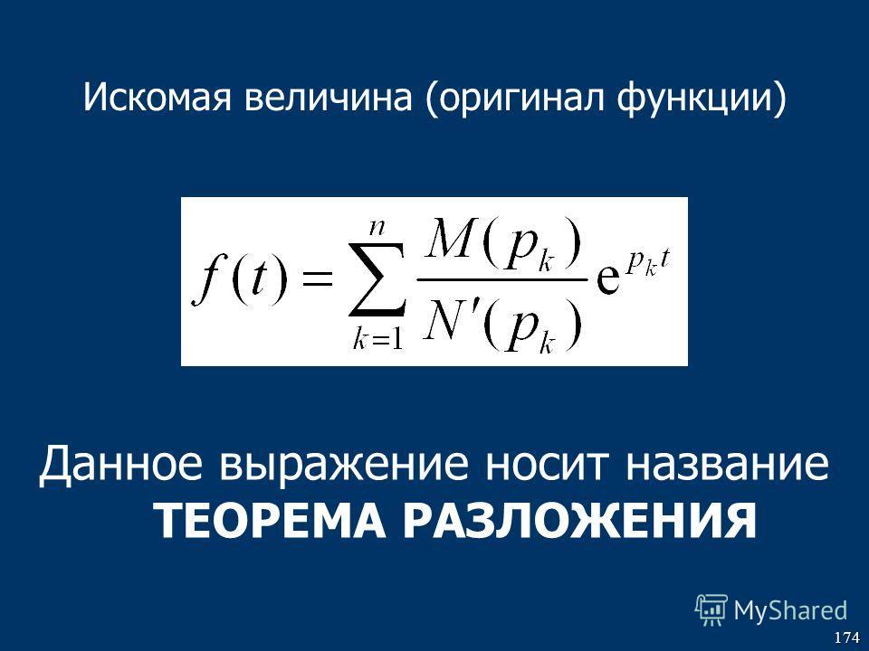 174 Искомая величина (оригинал функции) Данное выражение носит название ТЕОРЕМА РАЗЛОЖЕНИЯ