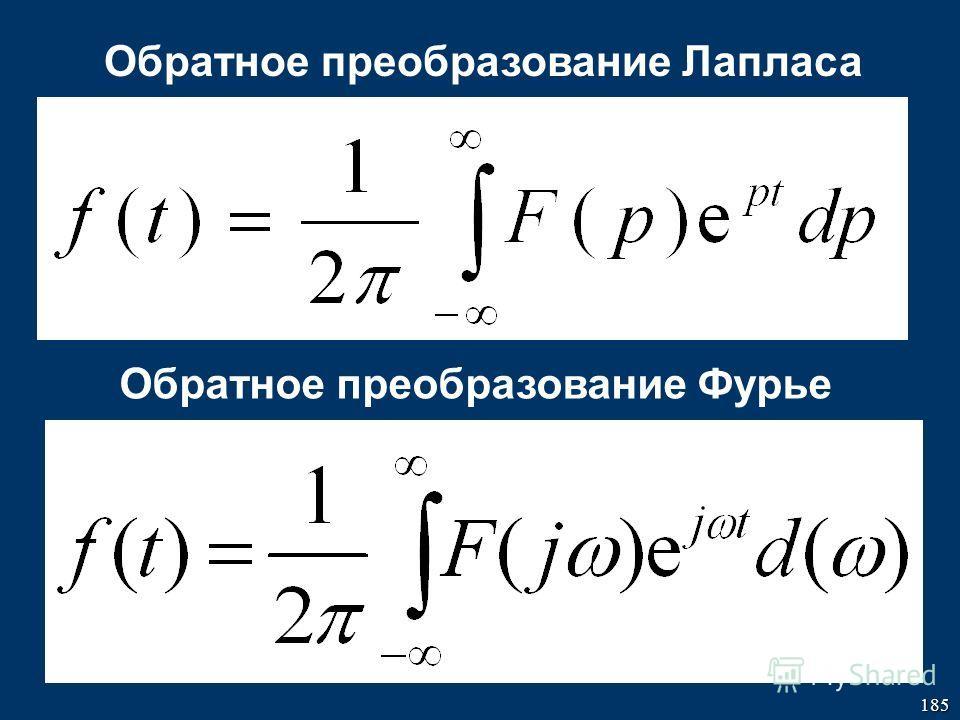 185 Обратное преобразование Лапласа Обратное преобразование Фурье