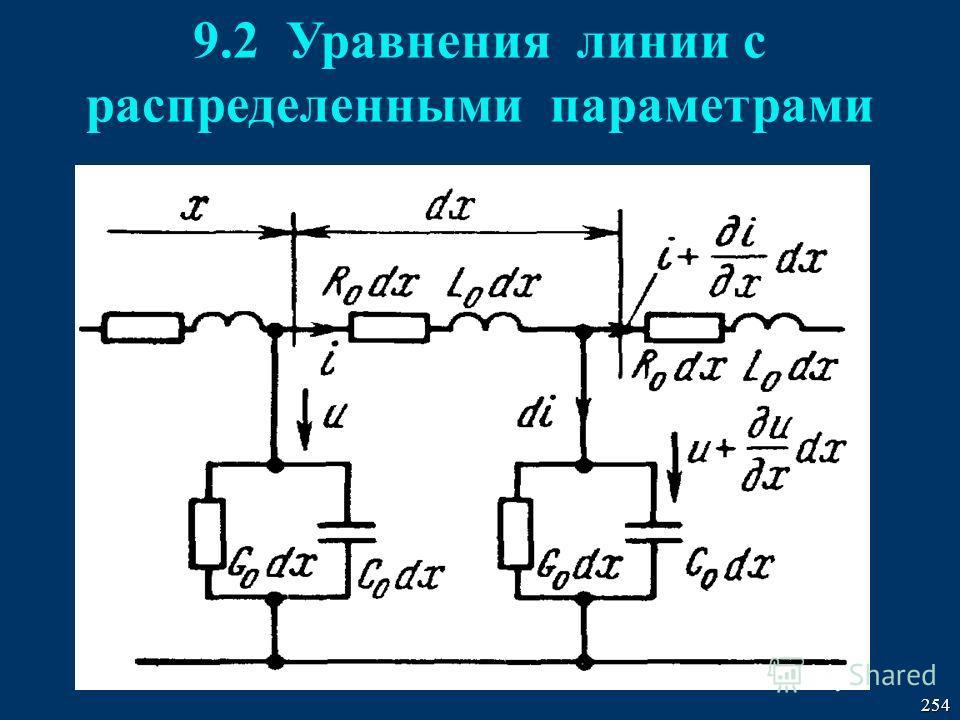 254 9.2 Уравнения линии с распределенными параметрами
