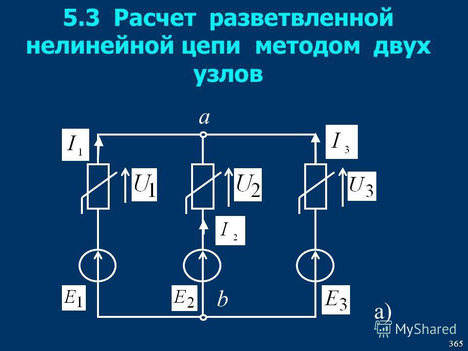 365 5.3 Расчет разветвленной нелинейной цепи методом двух узлов а) a b