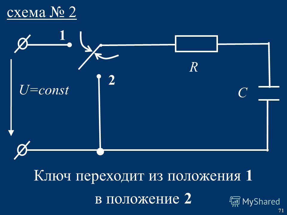 71 U=const R C схема 2 1 2 Ключ переходит из положения 1 в положение 2