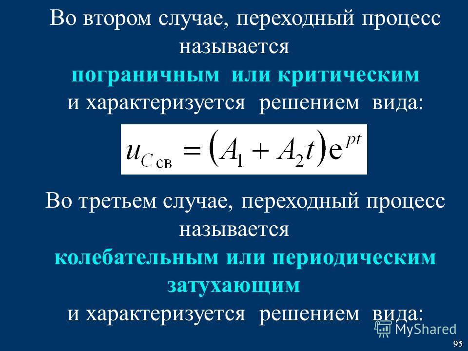 95 Во втором случае, переходный процесс называется пограничным или критическим и характеризуется решением вида: Во третьем случае, переходный процесс называется колебательным или периодическим затухающим и характеризуется решением вида: