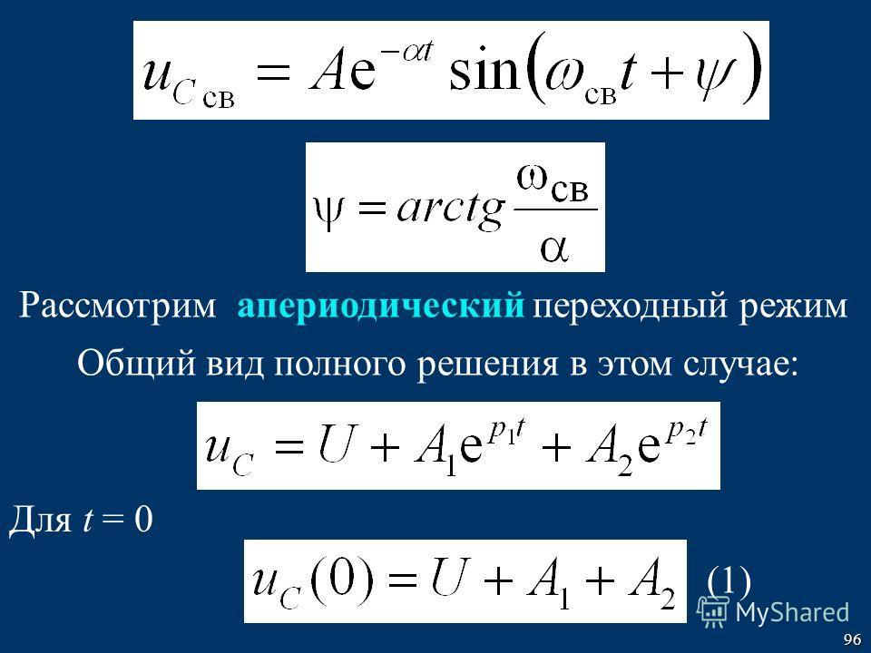 96 Рассмотрим апериодический переходный режим Общий вид полного решения в этом случае: Для t = 0 (1)