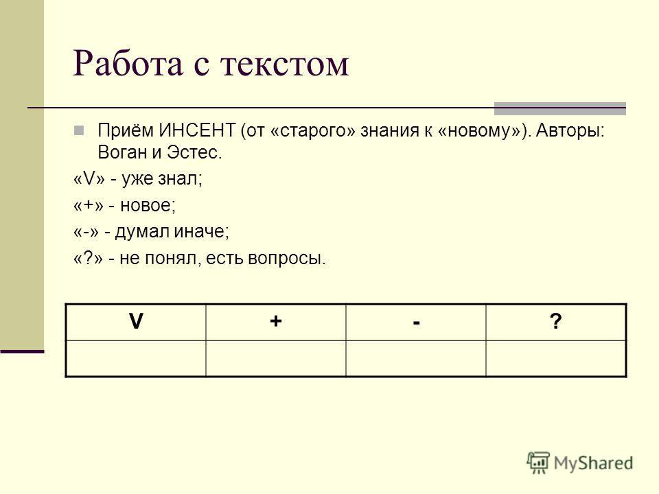 Работа с текстом Приём ИНСЕНТ (от «старого» знания к «новому»). Авторы: Воган и Эстес. «V» - уже знал; «+» - новое; «-» - думал иначе; «?» - не понял, есть вопросы. V+-?