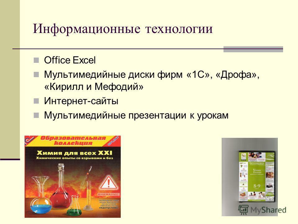 Информационные технологии Office Excel Мультимедийные диски фирм «1С», «Дрофа», «Кирилл и Мефодий» Интернет-сайты Мультимедийные презентации к урокам