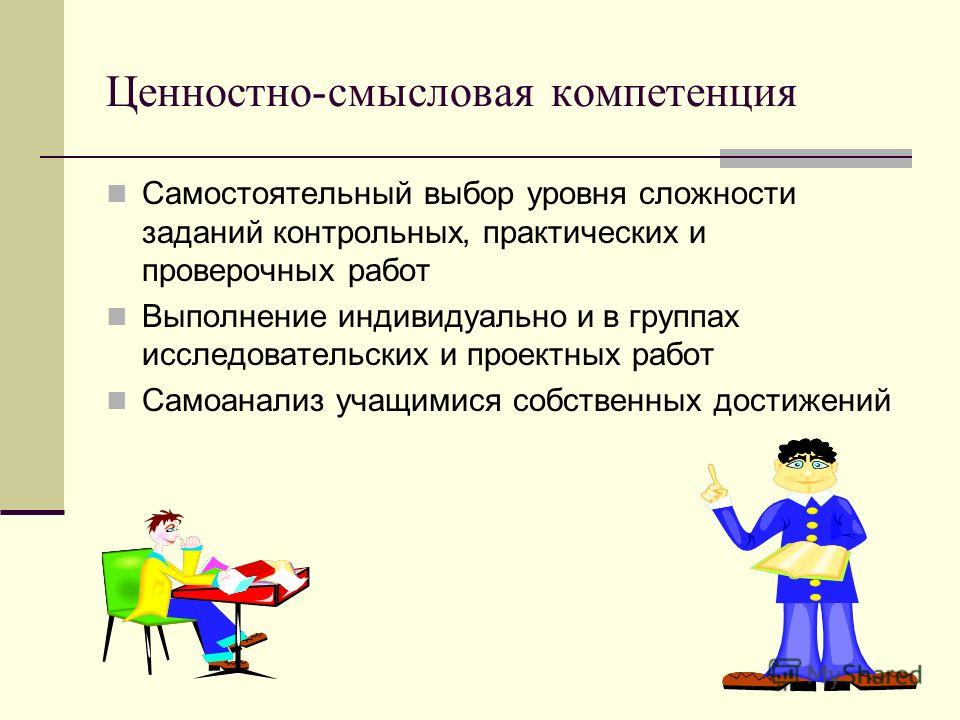 Ценностно-смысловая компетенция Самостоятельный выбор уровня сложности заданий контрольных, практических и проверочных работ Выполнение индивидуально и в группах исследовательских и проектных работ Самоанализ учащимися собственных достижений