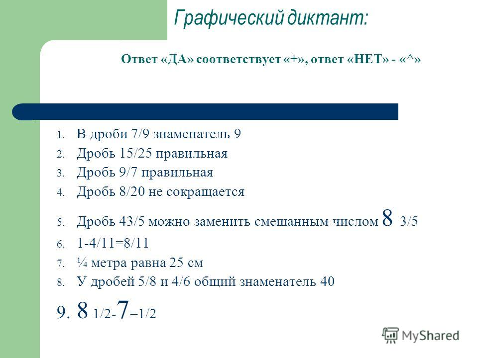 Графический диктант: Ответ «ДА» соответствует «+», ответ «НЕТ» - «^» 1. В дроби 7/9 знаменатель 9 2. Дробь 15/25 правильная 3. Дробь 9/7 правильная 4. Дробь 8/20 не сокращается 5. Дробь 43/5 можно заменить смешанным числом 8 3/5 6. 1-4/11=8/11 7. ¼ м