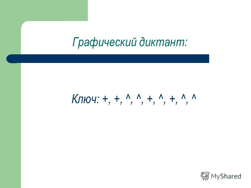 Графический диктант: Ключ: +, +, ^, ^, +, ^, +, ^, ^
