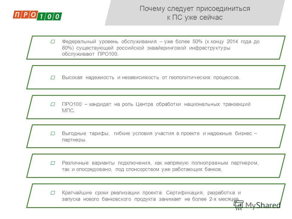 Федеральный уровень обслуживания – уже более 50% (к концу 2014 года до 80%) существующей российской эквайеринговой инфраструктуры обслуживают ПРО100. Почему следует присоединиться к ПС уже сейчас Высокая надежность и независимость от геополитических